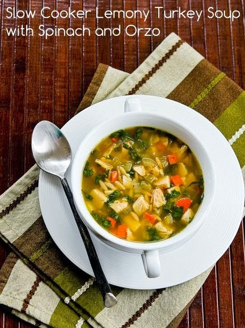 Slow Cooker Lemony Turkey (or chicken) Soup with Spinach and Orzo