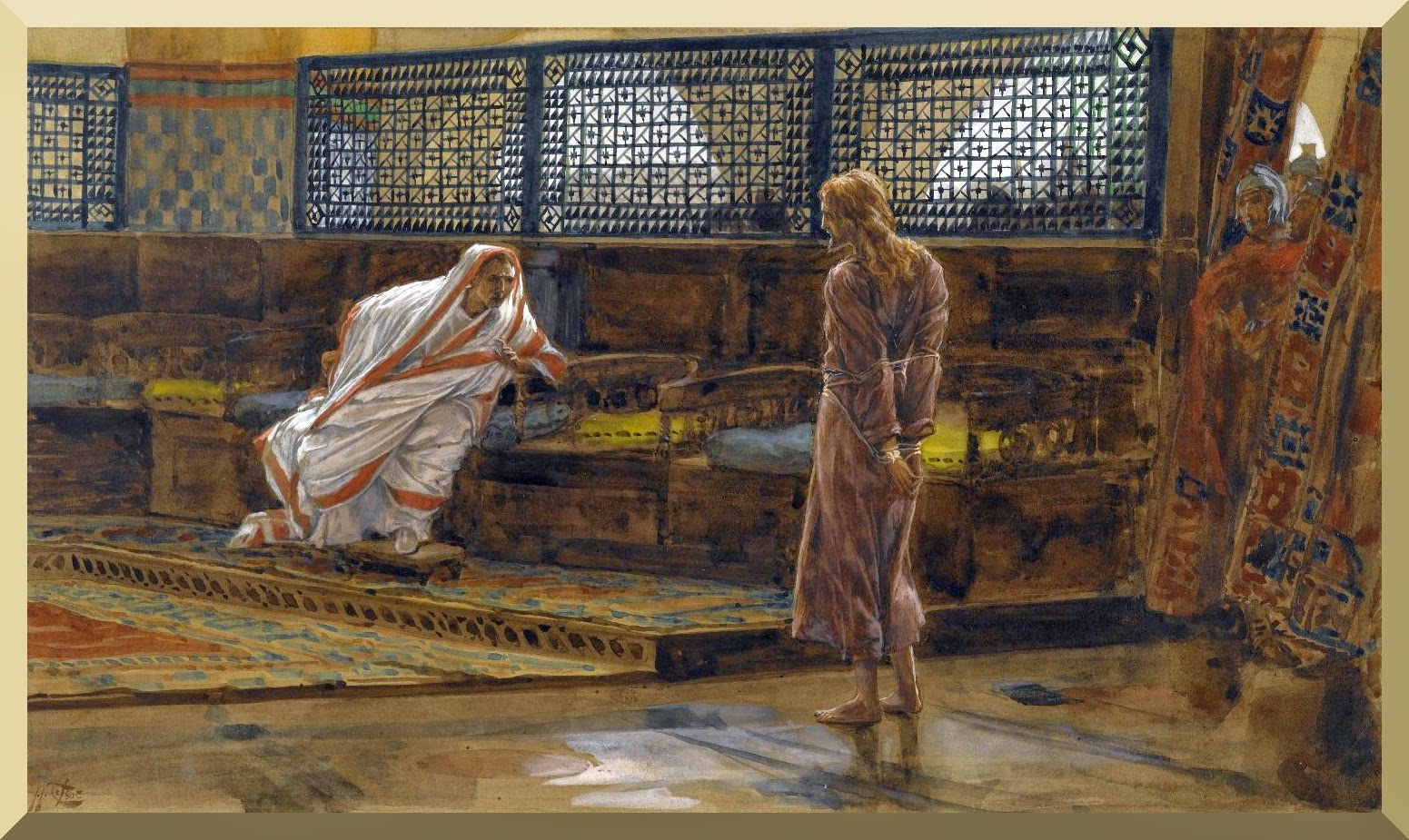 """Jesus Before Pilate, First Interview"" -- by James Tissot"