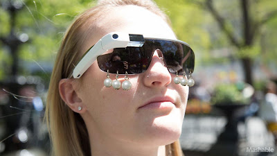 Google Glass Mashable Pearl Earrings