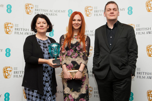 EE Rising Star Awards  Jury Chair Pippa Harris, Nominee Juno Temple and EE Director of Brand Spencer McHugh at BAFTA HQ