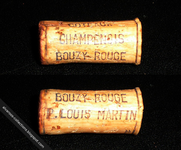 Destroyed wine cork: Coteaux Champenois Bouzy-Rouge (no year)