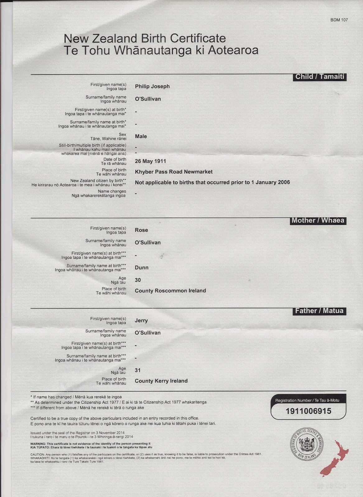 Pollyblog week 3 of 52 ancestors philip joseph sullivan 1911 1969 new zealand registrar of births deaths marriages birth certificate philip joseph osullivan reg n 1911006915 aiddatafo Images