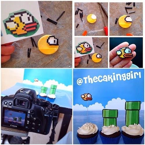 flappy bird cake, flappy bird cupcake
