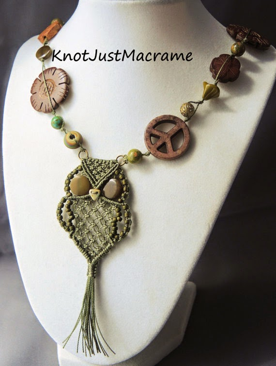 Micro macrame owl pendant necklace by Sherri Stokey of Knot Just Macrame