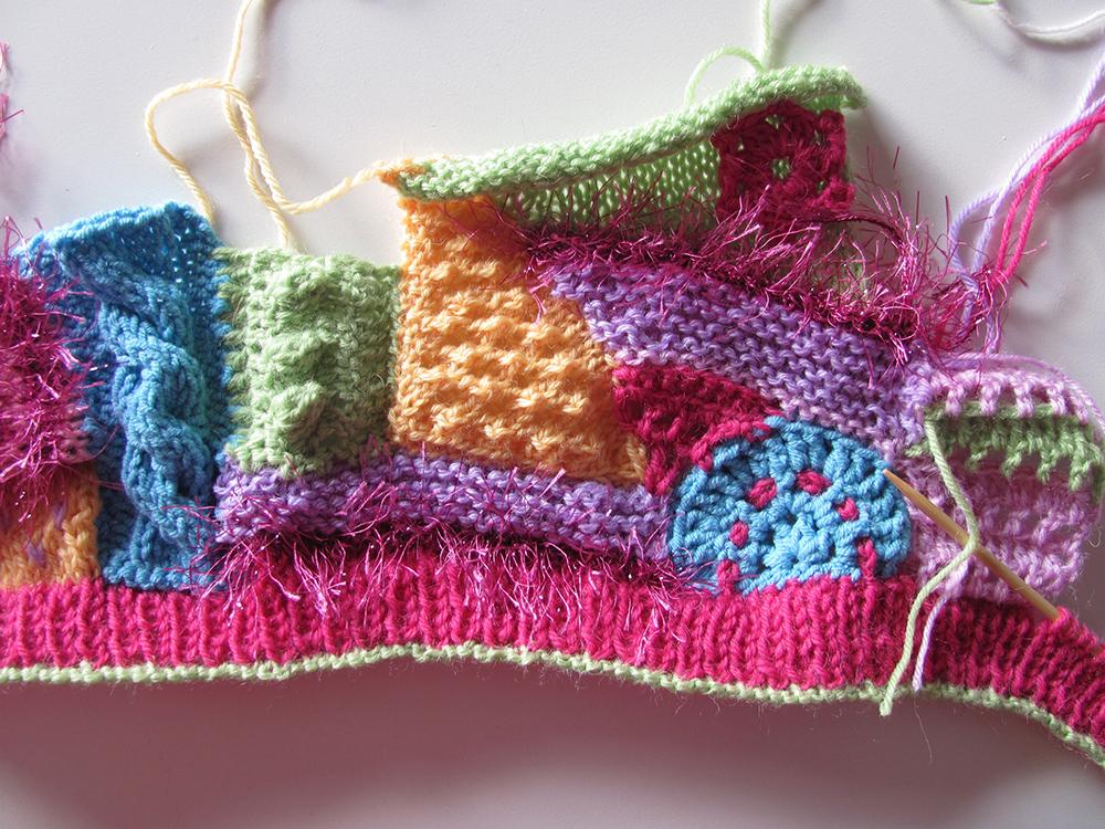 Purple crafts: Little girls hat in freeform knitting/crochet