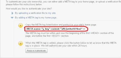 verify META tag code from yahoo image