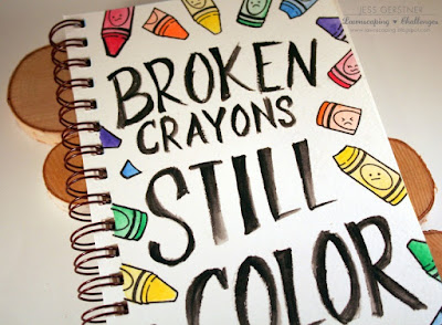 Broken Crayons Still Color Art Journaling by Jess Gerstner featuring Lawn Fawn stamps