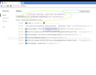 delete Browsing data in chrome