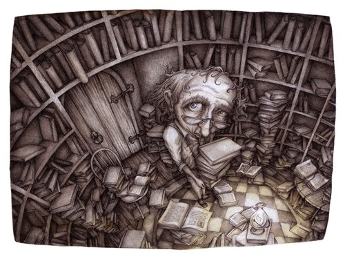 13-The-Library-Adam-Oehlers-Illustrations-and-Drawings-from-Oehlers-World-www-designstack-co