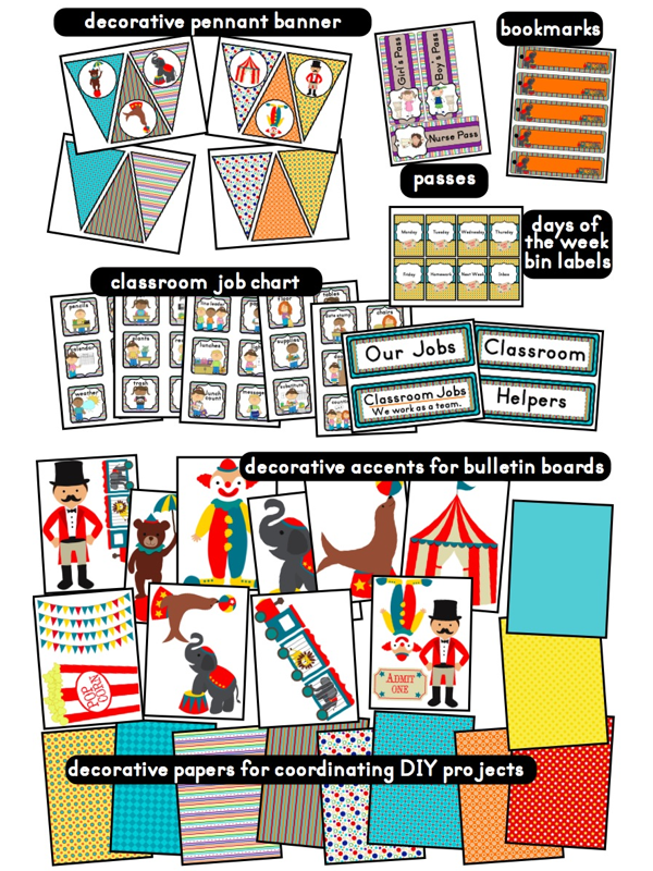 Classroom Ideas Printables ~ Clutter free classroom carnival and circus themed classrooms