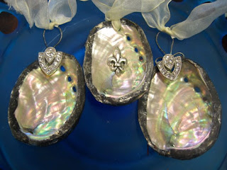 Hand soldered abalone shell ornaments