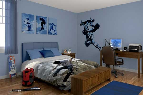 Teen boys sports theme bedrooms room design ideas for Bedroom designs for young men
