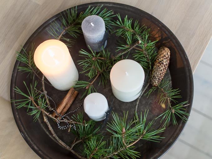 adventtikynttilät, rento asetelma adventtikynttilät, adventcandles bohemian, rento adventtikynttiläasetelma
