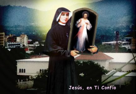 fotografia santa Faustina con el cuadro de Jesus misericordioso