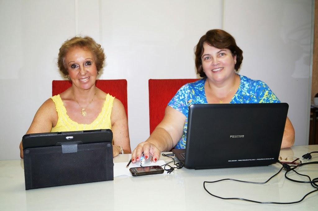 Solange Gallo e Carmem Guarilha informam os detalhes das matrículas da rede municipal de ensino