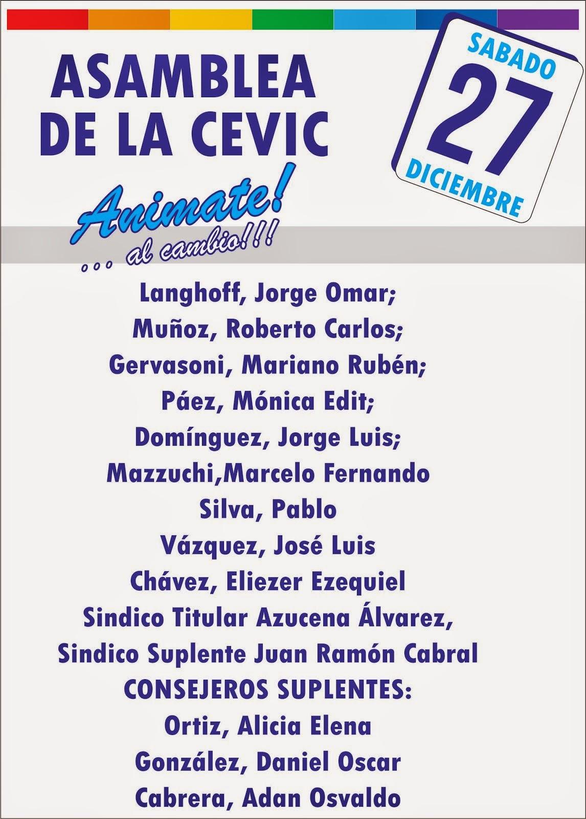 "Lista CEVIC:"" Animate al Cambio"""