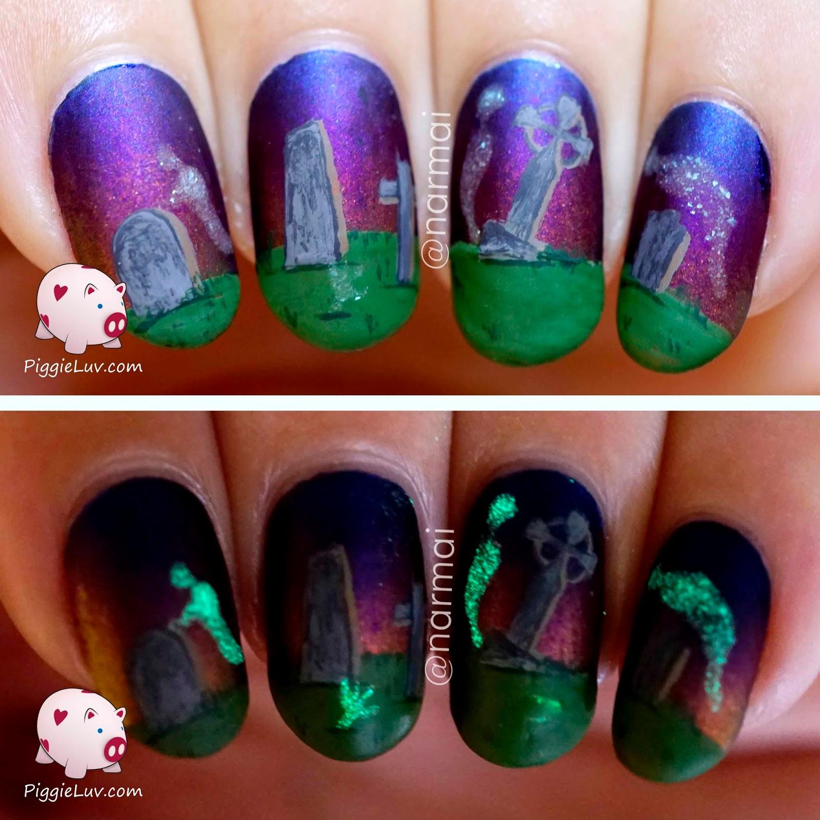 PiggieLuv: Haunted graveyard nail art, glowy ghosts