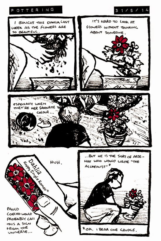 Comic about planting a dahlia, where the name could be a sign from the universe