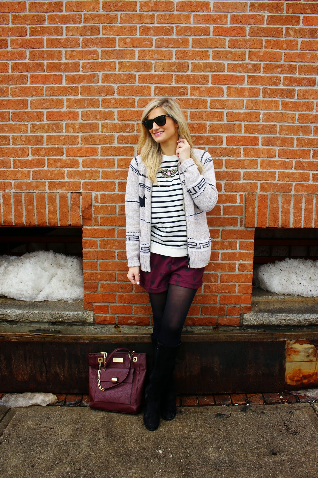 bijuleni,streetstyle,Zara,winter shorts, cardigan, winnersfabfind, stripe,fashion blogger, Calvin Klein