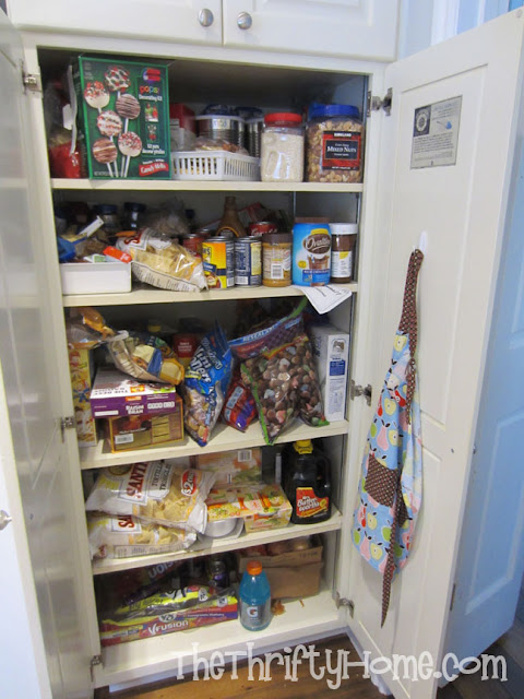 the thrifty home simple solutions to organize a deep pantry. Black Bedroom Furniture Sets. Home Design Ideas