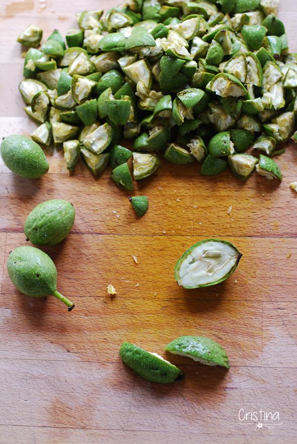 nueces verdes troceadas