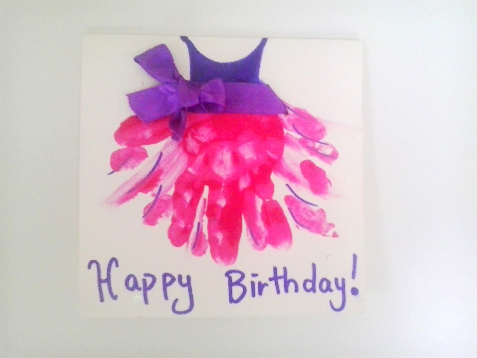 Hand Print Tutu A Stunning simple Home Made Birthday Card