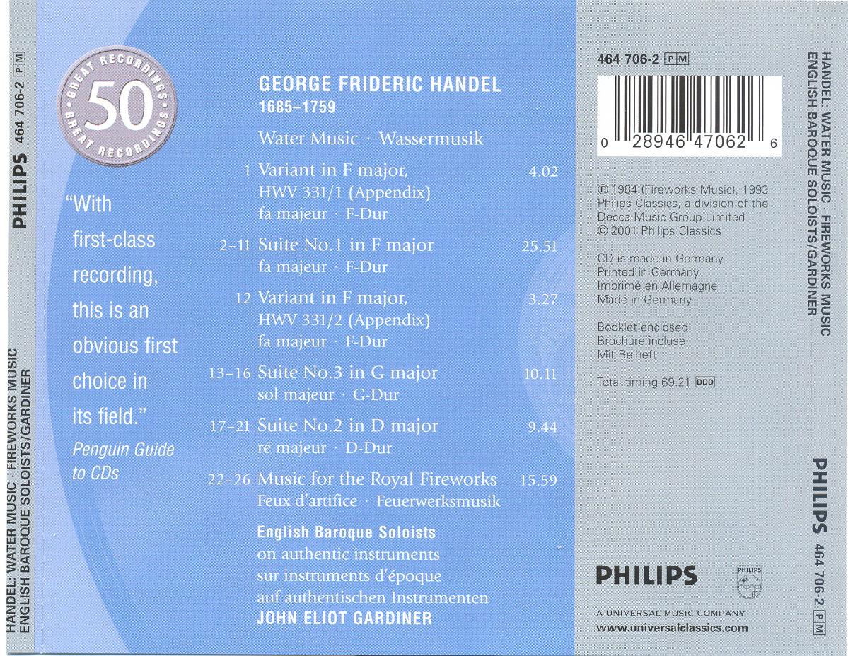 zumschein: George Frideric Handel - Water Music & Fireworks Music ...