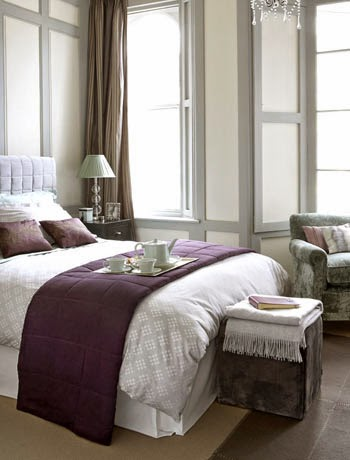 Eye for design decorating with aubergine eggplant - Lavender and gray bedroom ...