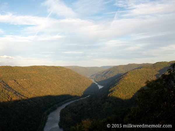 Golden evening sun and shadows settle over New River Gorge as seen from the Grandview, WV, overlook