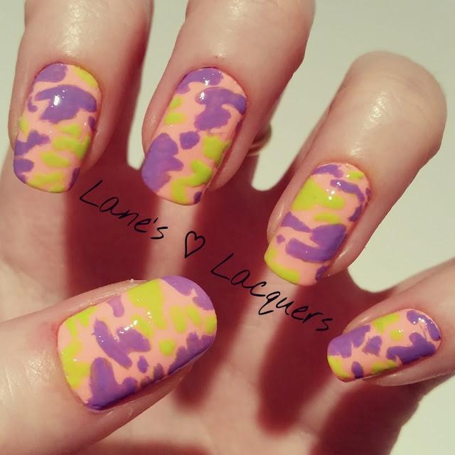 40-great-nail-art-ideas-orange-purple-green-camouflage-manicure (1)