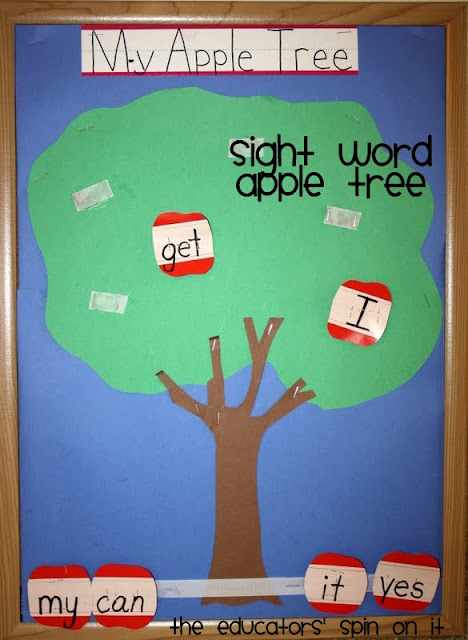 Learning Sight Words Apple Game for Kindergarten, fall literacy activities