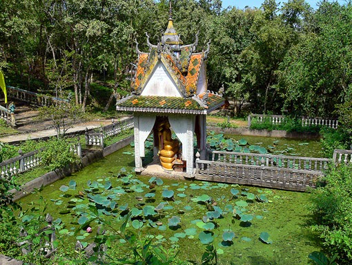 Buddhist shrine and pond on the hill