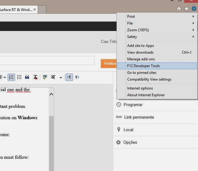 IE 11 problems with F12 developers tools in windows 81