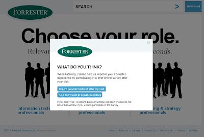 Website da Forrester Research - Personalização desde a página inicial