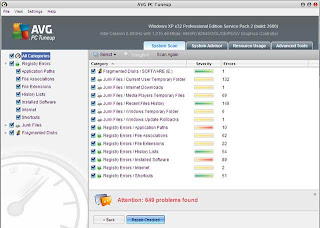 AVG PC tune up-Windows optimizations software