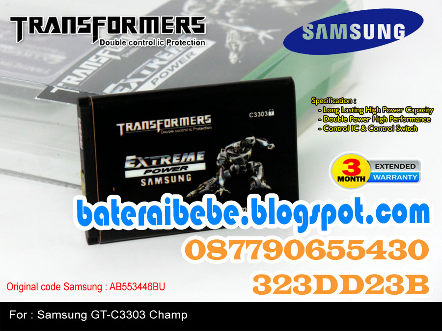 Baterai Double Power Samsung Transformer AB553446BU