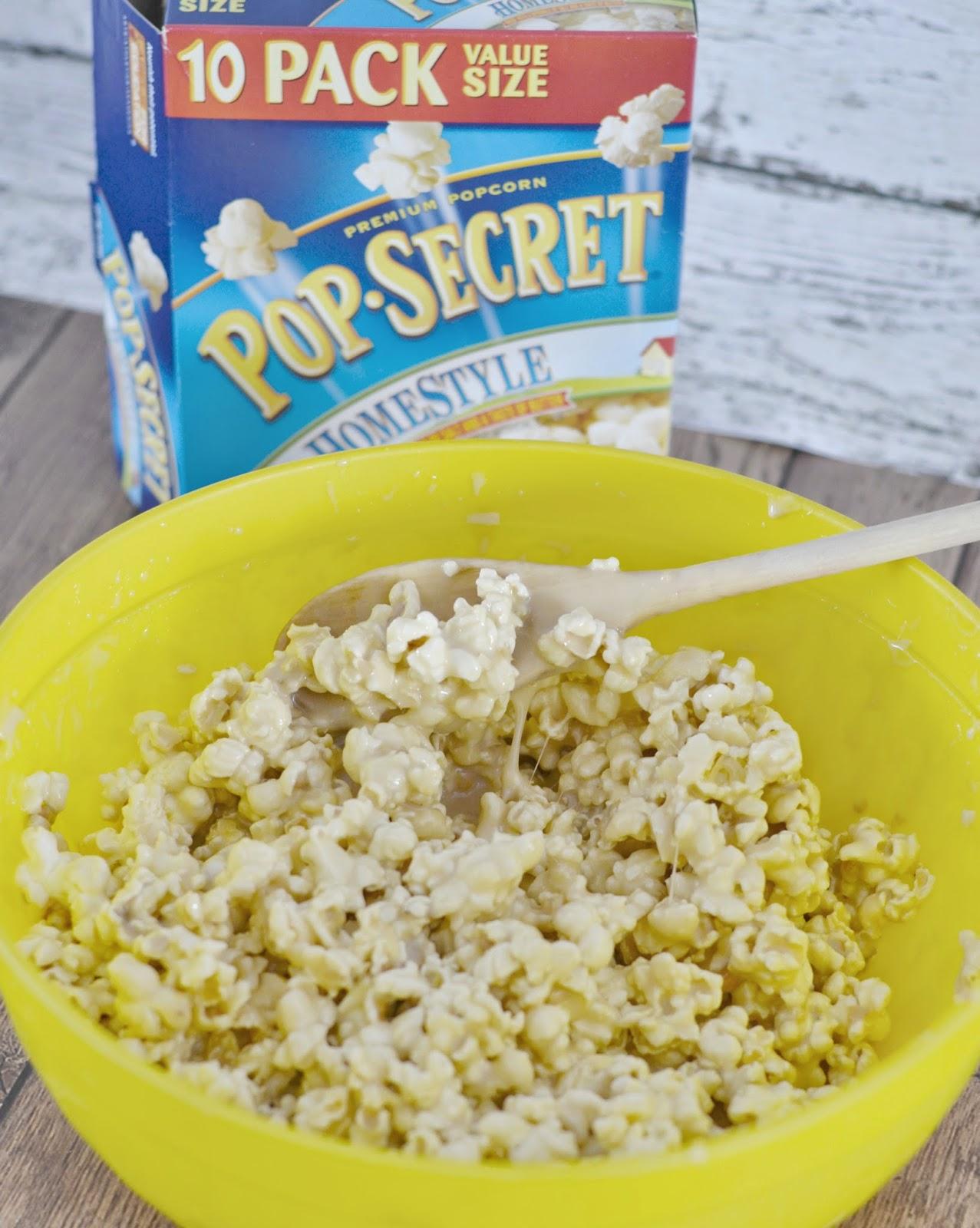 The Boxtrolls Movie Night:  Caramel Marshmallow Popcorn Pops #recipe.  Soft Popcorn Balls.  Easy Caramel Popcorn.  Easy Popcorn Ball recipes.  Marshmallow Popcorn balls.  Pop Secret Popcorn.  Movie Treats.  The Boxtrolls