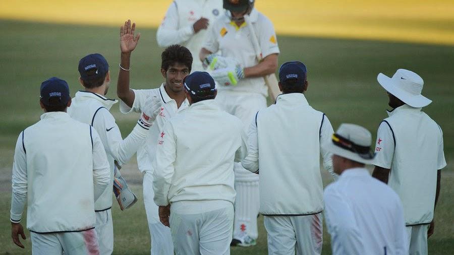 Team-mates-congratulate-Jasprit-Bumrah-Australia-A-v-India-A