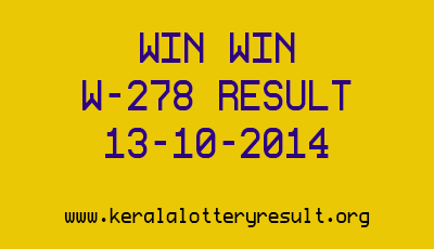 WIN WIN Lottery W 278 Result 13-10-2014