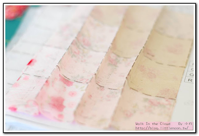 婚戒壁飾 - 固定後的圖案布背面
