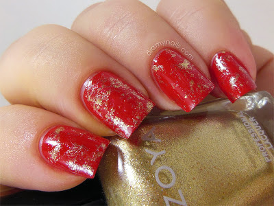 Chinese New Year saran wrap manicure