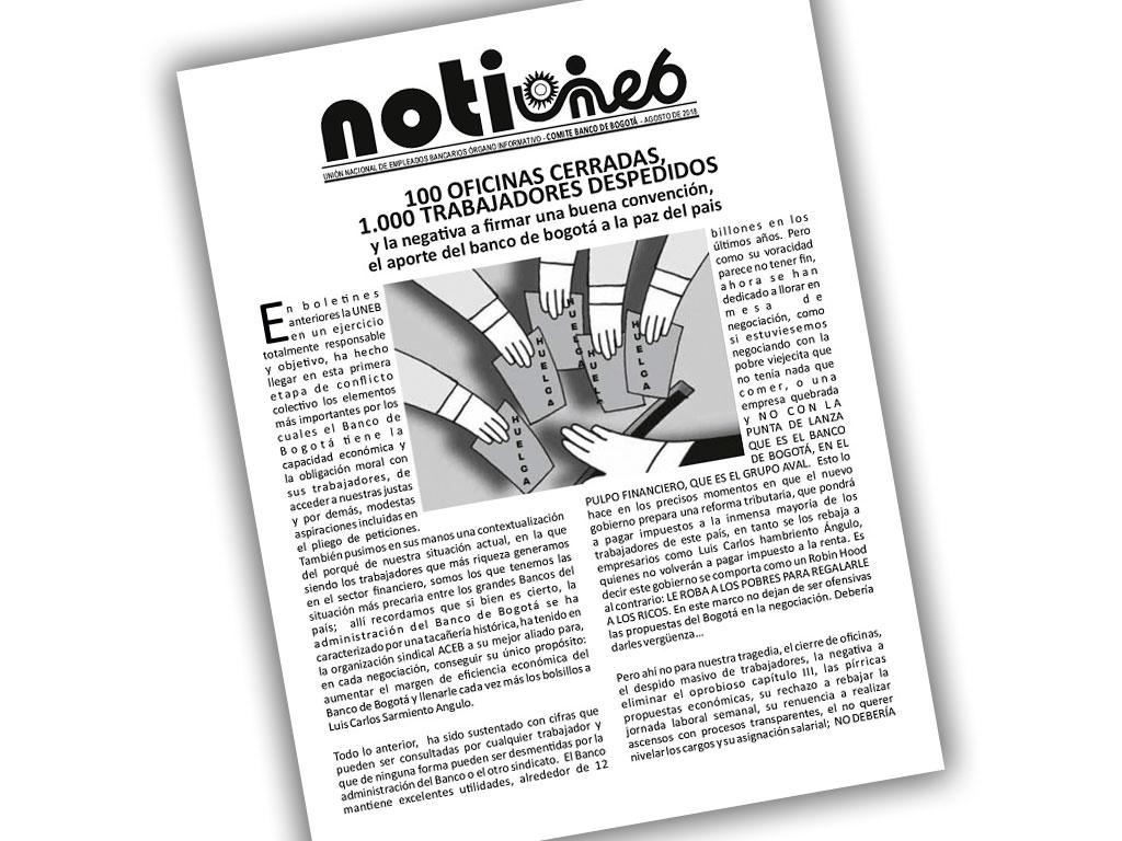 100 OFICINAS CERRADAS, 1.000 TRABAJADORES DESPEDIDOS y la negativa a firmar una buena convención, el aporte del Banco de Bogotá a la paz del país