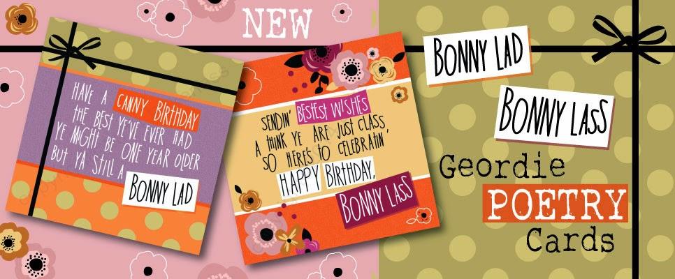 Geordie Poetry Cards Bonny Lad Bonny Lass, Bykerlass Matt Reilly