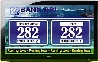 Tampilan Antrian Bank BRI