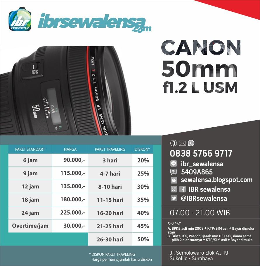 Canon 50 mm F1.2 L USM Harga sewa lensa  rental kaemra
