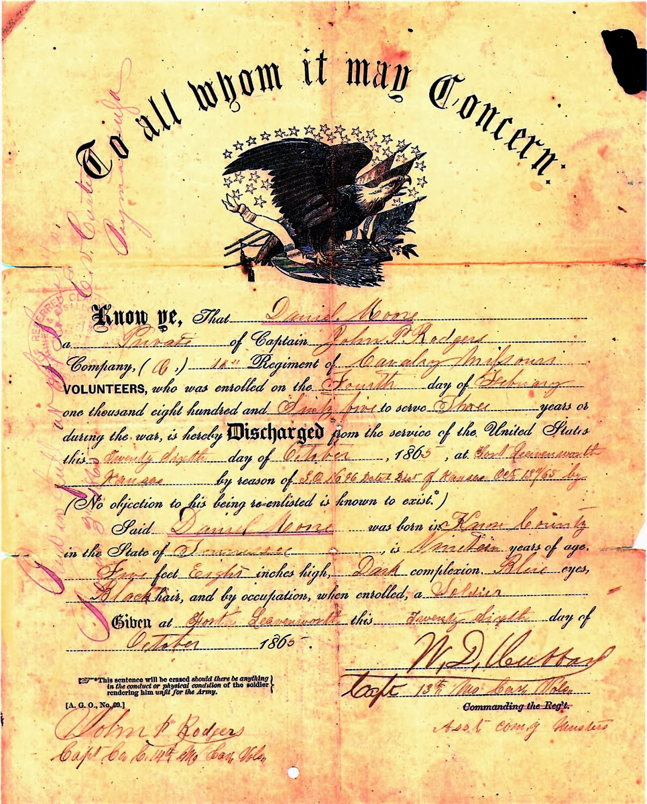 daniel moore s second enlistment and honorable discharge with the 14th cavalry he now proclaims soldier as his occupation at time of induction