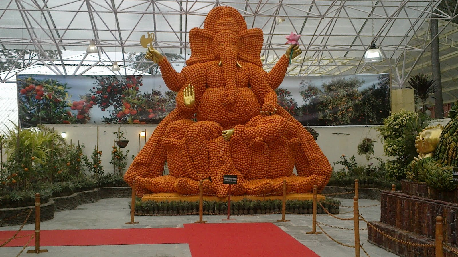 Lord Ganesh made of oranges