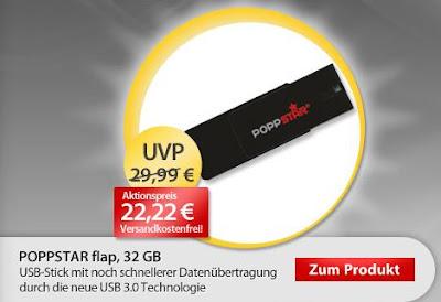 32 GB Poppstar flap USB 3.0 für 22,22 Euro bei MeinPaket