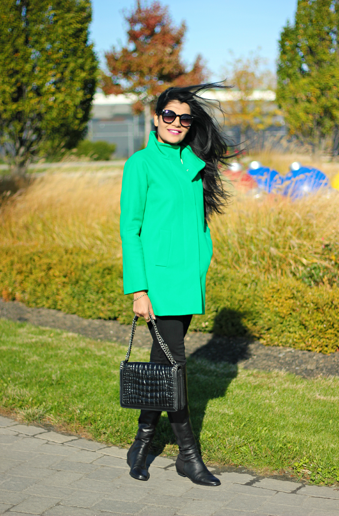 JCrew Factory City Coat, JCrew Cocoon Coat, Green Coat, Vince Camuto Karita Over The Knee