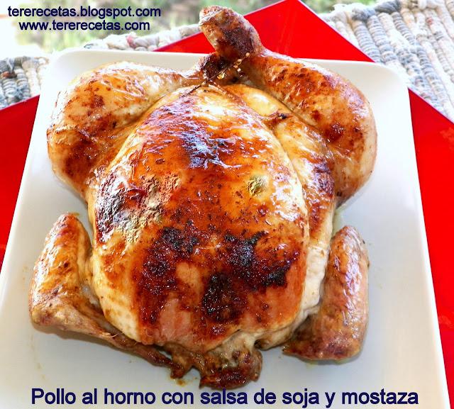 Pollo al horno con salsa de soja y mostaza.